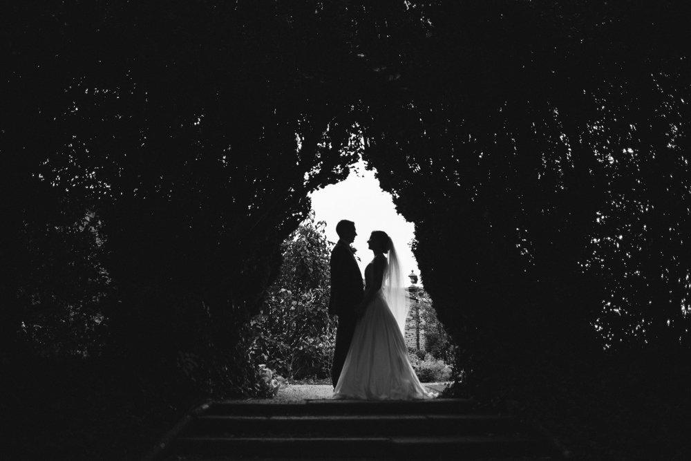 Bride and Groom Silhouette in hedge, Antrim Castle Gardens, Northern Ireland