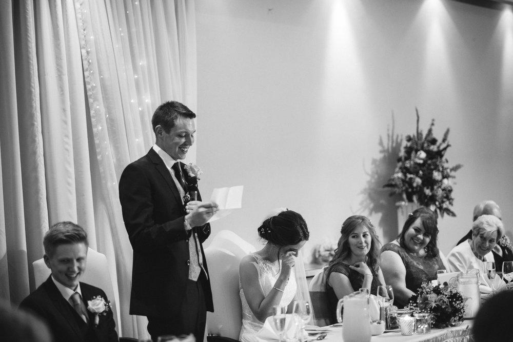 Bride cries during groom's speech, Ross Park Hotel, Kells, Ballymena