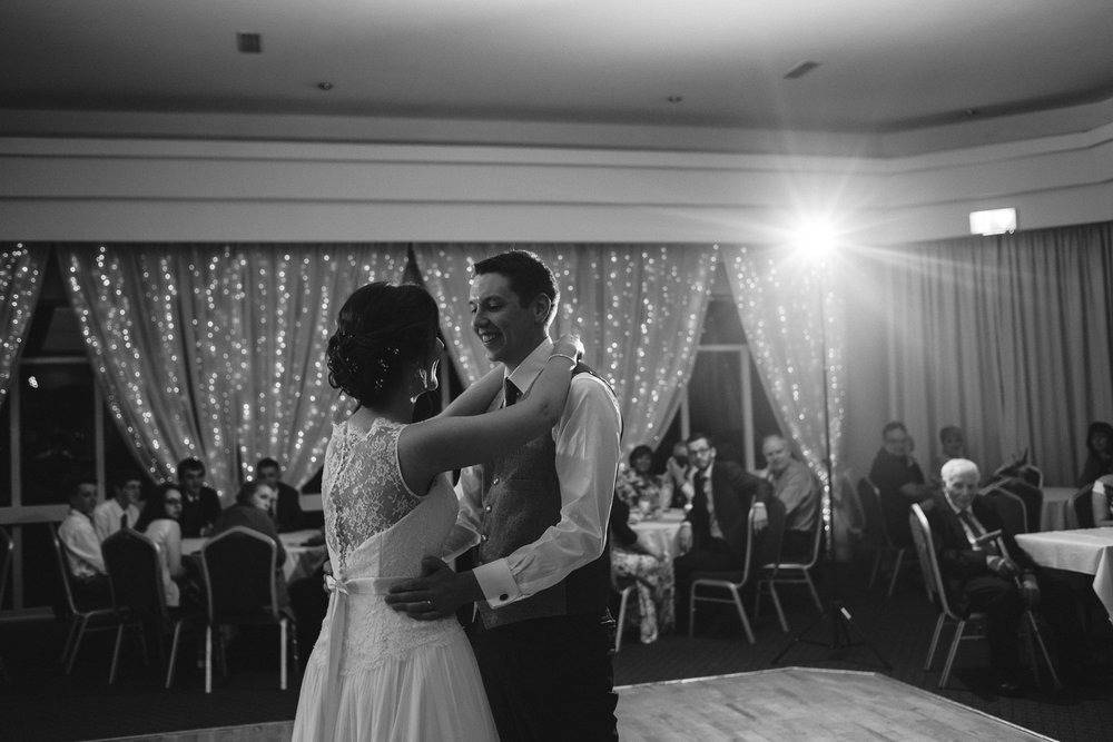 Bride and groom enjoy first dance, Ross Park Hotel, Kells, Ballymena