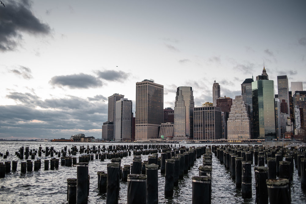 Lower Manhattan from Brooklyn at Dusk, Sunset, NYC