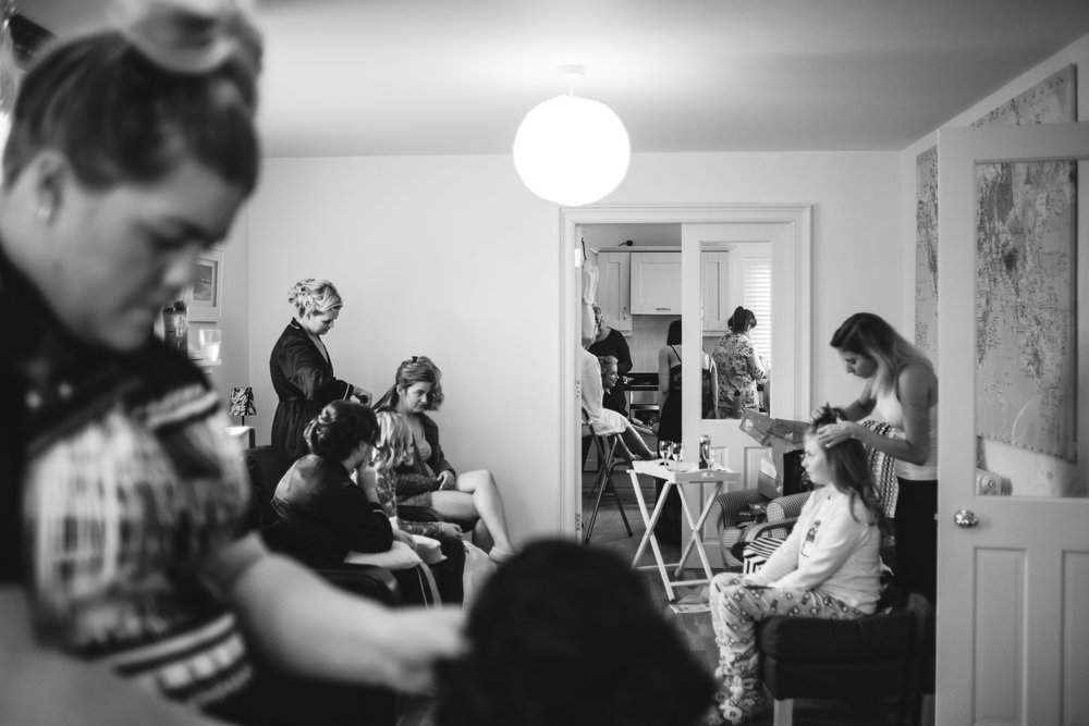 Bridal party get hair and makeup done at Lough Erne Resort, County Fermanagh, Northern Ireland, New Years Eve, Great Gatsby, 1920's, 1920, 1920s, themed wedding