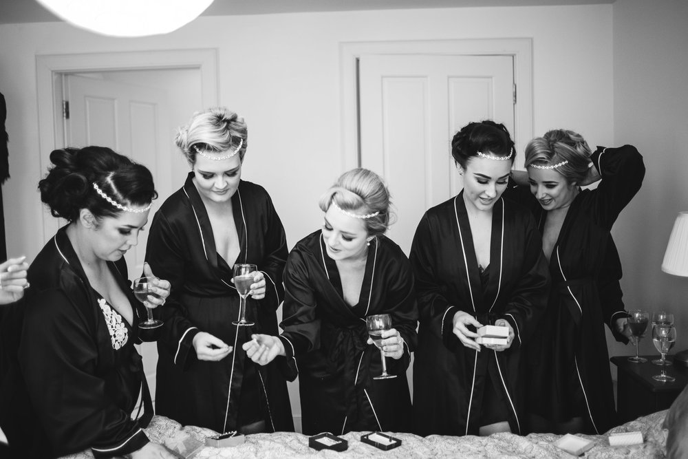 Bridal Party, Bridesmaids look at jewellery, Lough Erne Resort, County Fermanagh, Northern Ireland, New Years Eve, Great Gatsby, 1920's, 1920, 1920s, themed wedding