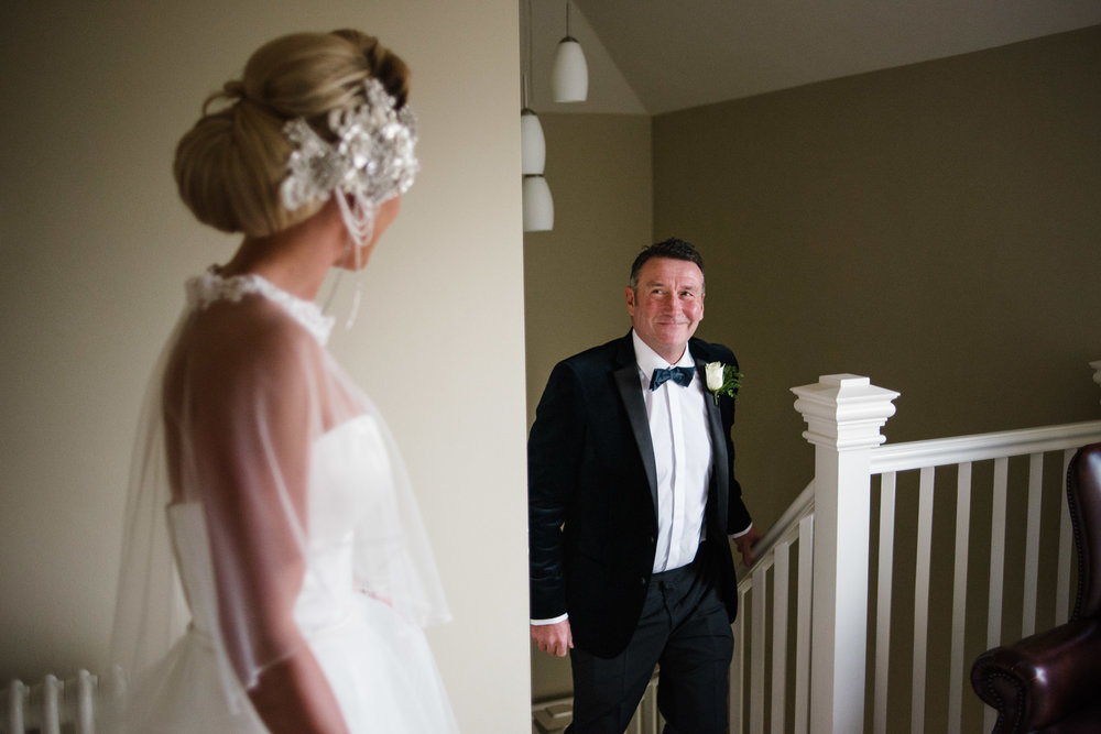 Father of the Bride sees daughter on her wedding day,Lough Erne Resort, County Fermanagh, , Northern Ireland, New Years Eve, Great Gatsby, 1920's, 1920, 1920s, themed wedding