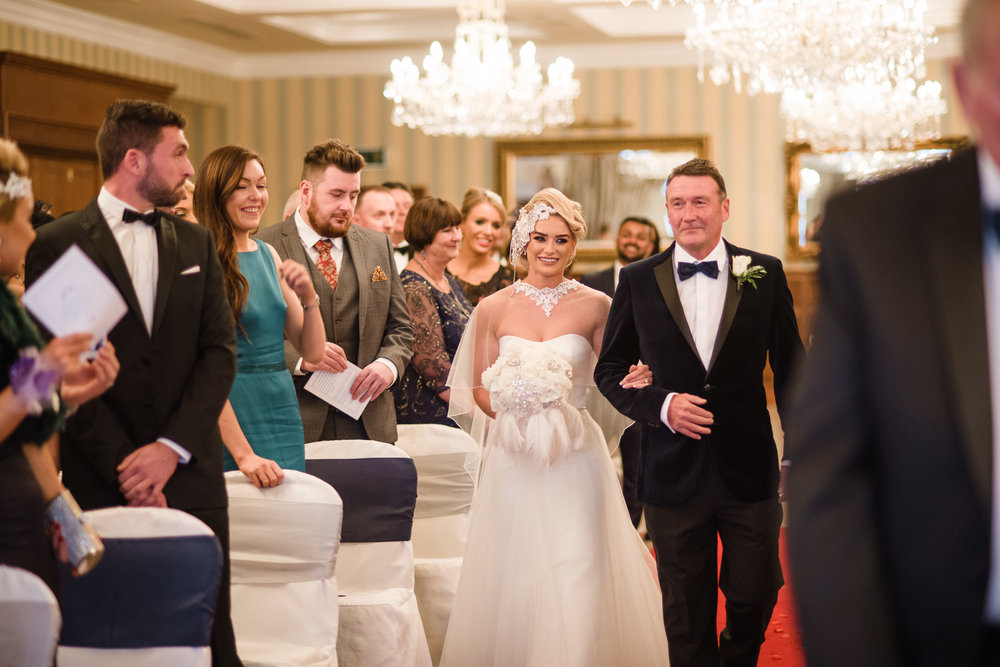 Father walks daughter, bride, down the aisle,Lough Erne Resort, County Fermanagh, Northern Ireland, New Years Eve, Great Gatsby, 1920's, 1920, 1920s, themed wedding