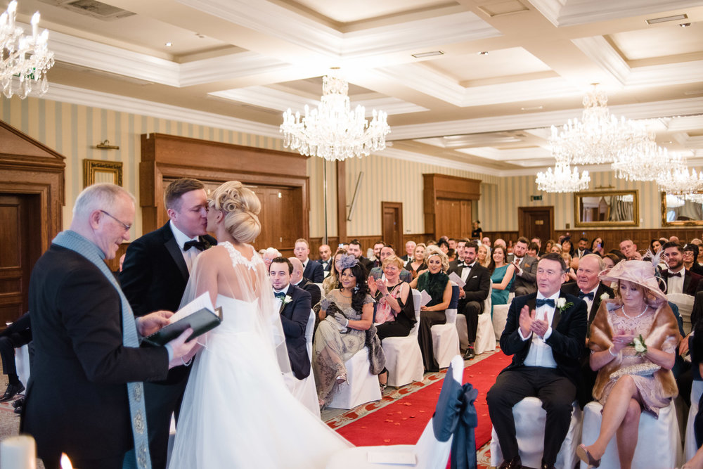 Bride and Groom, first kiss,Lough Erne Resort, County Fermanagh,, Northern Ireland, New Years Eve, Great Gatsby, 1920's, 1920, 1920s, themed wedding