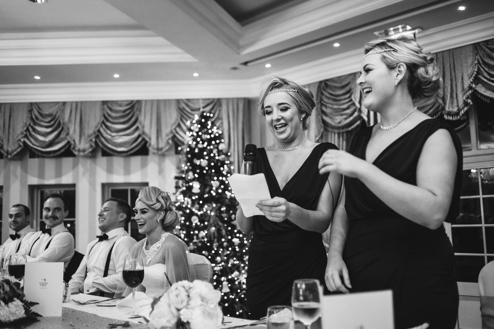 Bridesmaids give speech,Lough Erne Resort, County Fermanagh, Northern Ireland, New Years Eve, Great Gatsby, 1920's, 1920, 1920s, themed wedding
