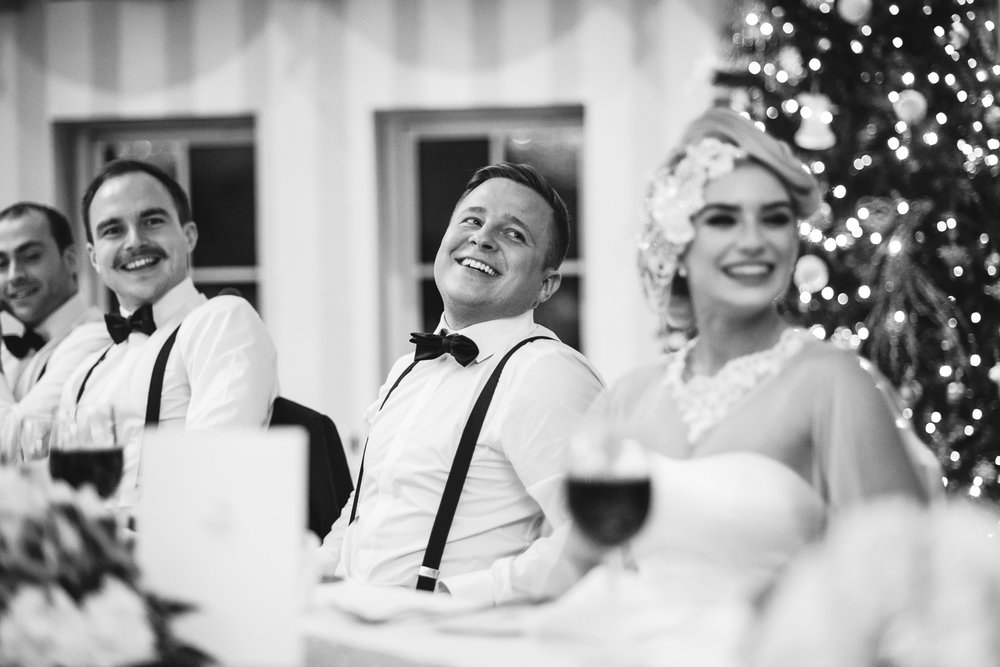 Bride and Groom listen to speeches, Lough Erne Resort, County Fermanagh, Northern Ireland, New Years Eve, Great Gatsby, 1920's, 1920, 1920s, themed wedding