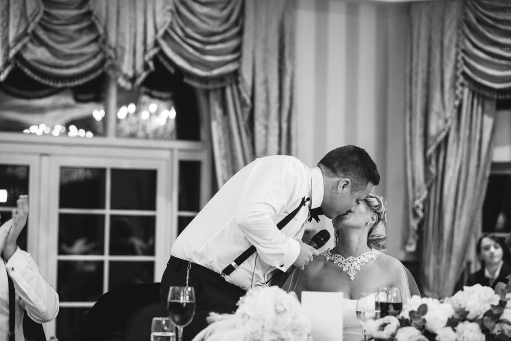 Groom Kisses Bride during speech, Lough Erne Resort, County Fermanagh, Northern Ireland, New Years Eve, Great Gatsby, 1920's, 1920, 1920s, themed wedding