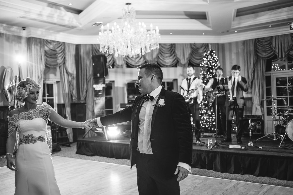 Bride And Groom, First Dance, Lough Erne Resort, County Fermanagh, Northern Ireland, New Years Eve, Great Gatsby, 1920's, 1920, 1920s, themed wedding