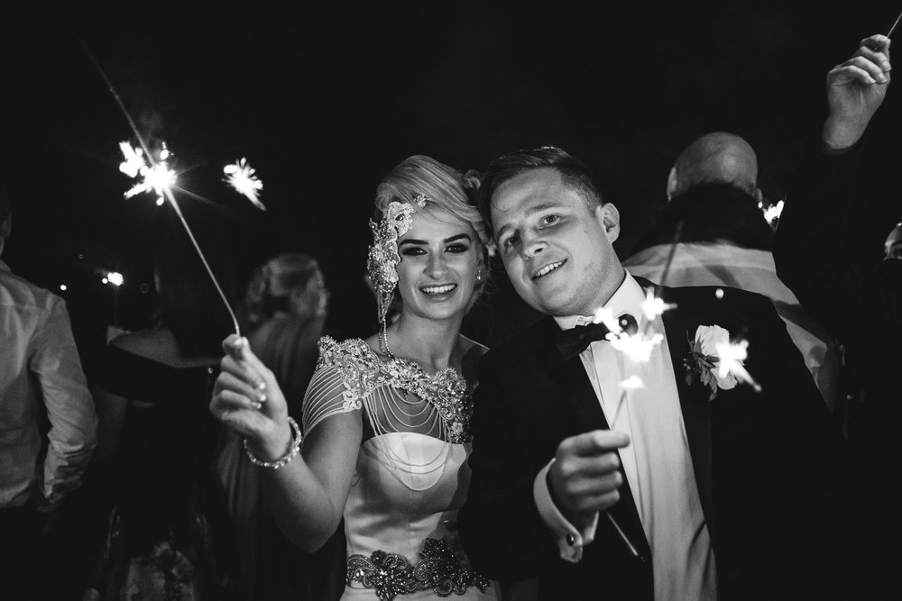 Bride and groom wave sparklers, Lough Erne Resort, County Fermanagh, Northern Ireland, New Years Eve, Great Gatsby, 1920's, 1920, 1920s, themed wedding