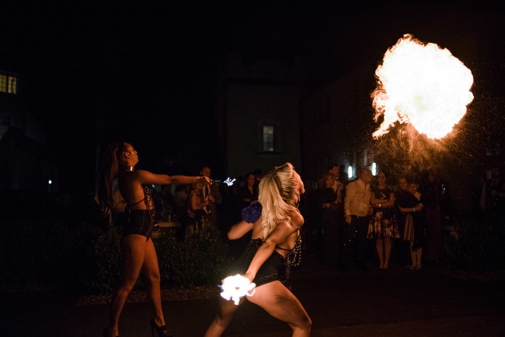 Fire Breathers entertain weddings guests,Lough Erne Resort, County Fermanagh, Northern Ireland, New Years Eve, Great Gatsby, 1920's, 1920, 1920s, themed wedding