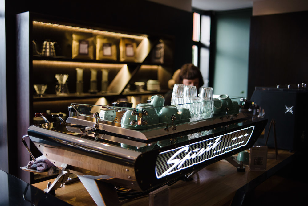 Kees Van Der Westen espresso machine in the Customer experience centre at Bailies Coffee Roasters, Belfast, Northern Ireland