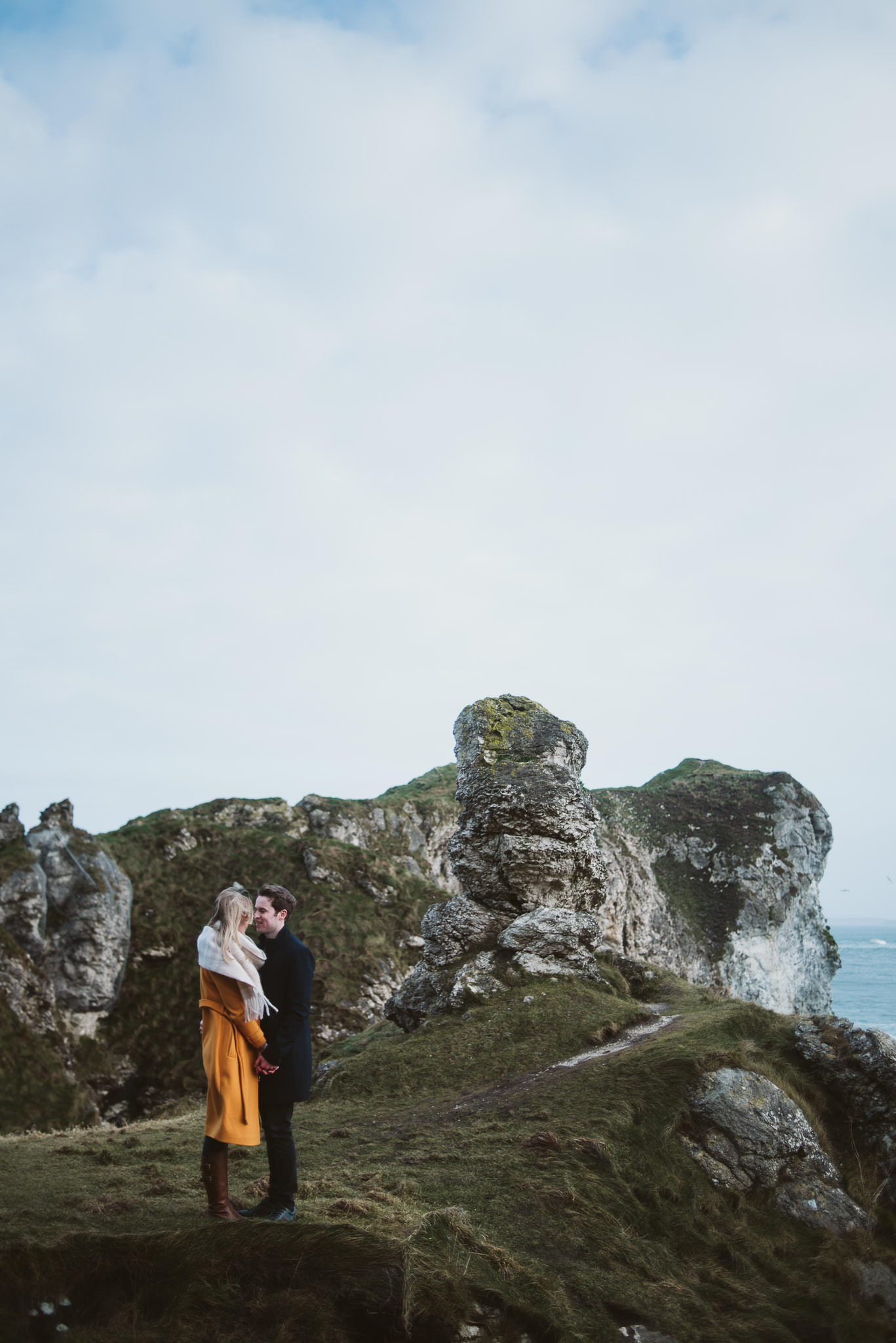 Kinbane Castle, Kinbane Head, Causeway Coast, Engagmenet Portrait Drone Shoot