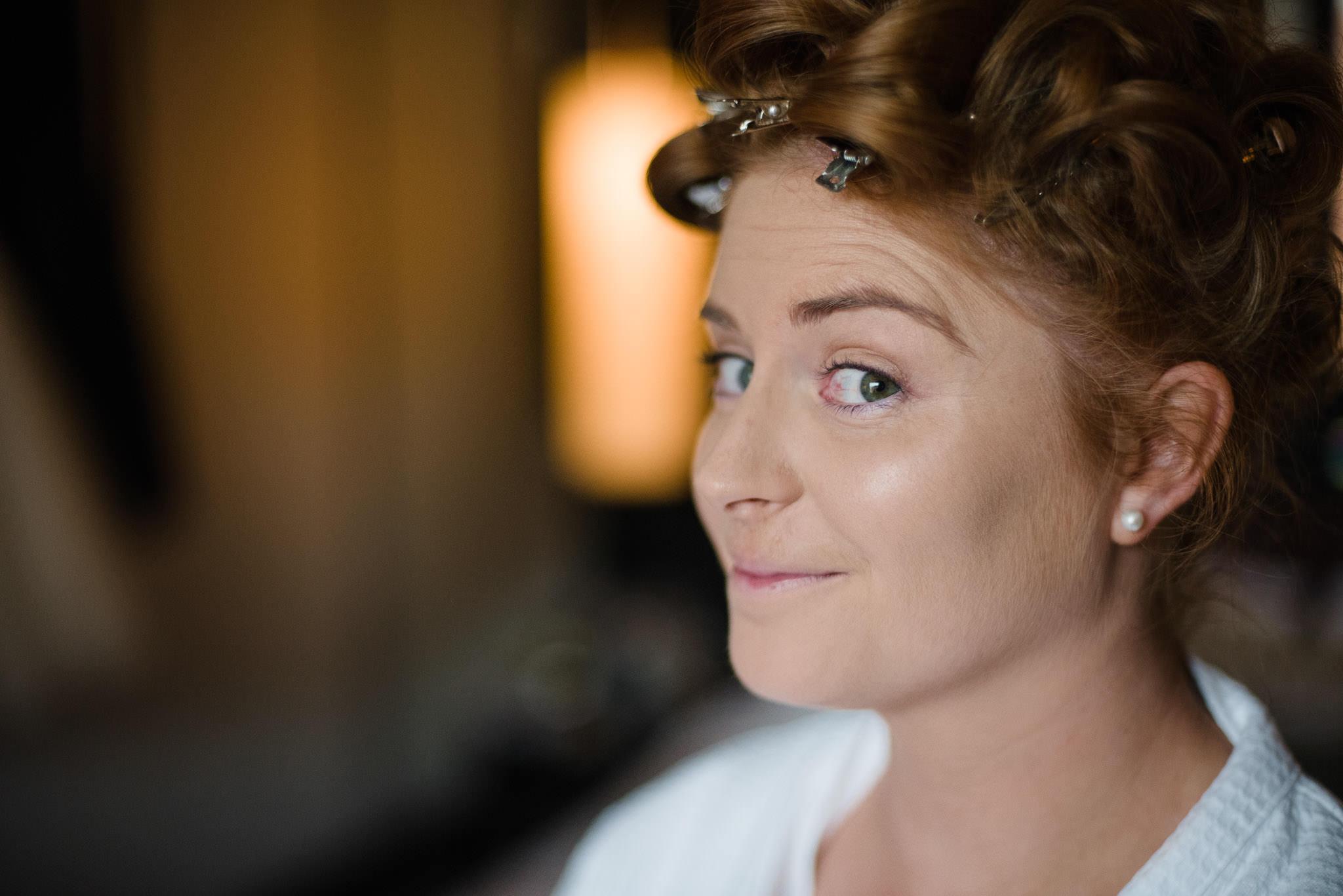 Bride getting ready in The Fitzwilliam Hotel, Belfast, Northern Ireland, Wedding Photography