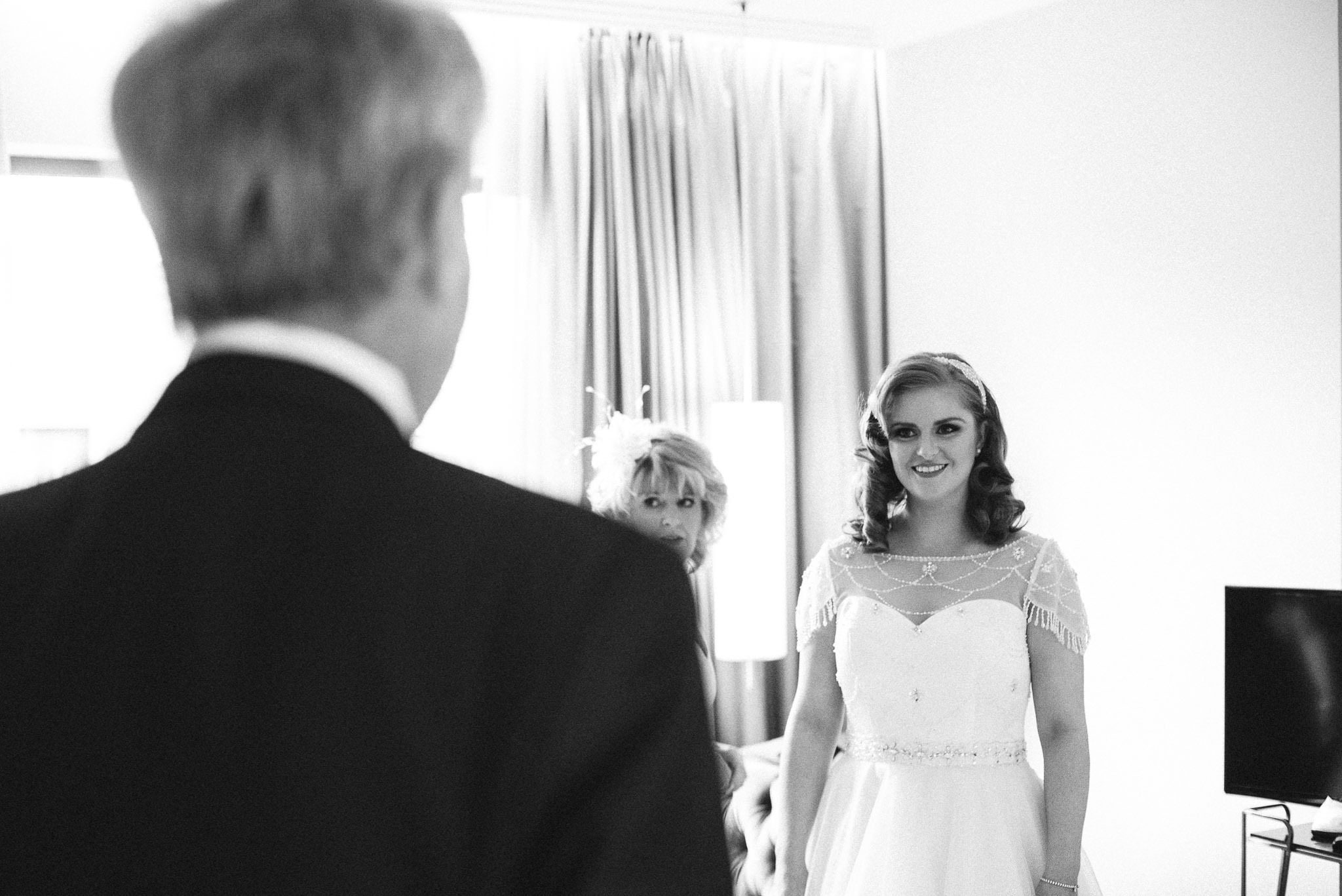 Bride getting ready in The Fitzwilliam Hotel, Belfast, Northern Ireland, Wedding Photography