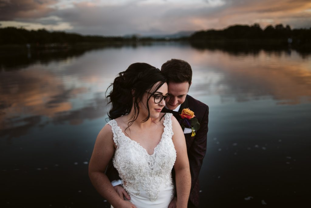 Lakeside Sunset, Wedding at Killyhevlin Hotel, Fermanagh, Northern Ireland
